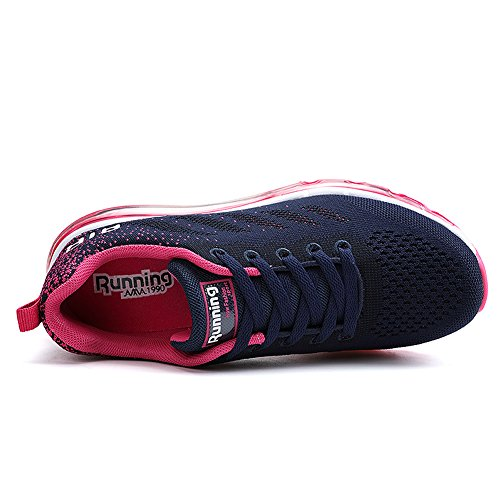 JARLIF Womens Athletic Tennis Air Running Sneakers Fashion Sport Fitness Workout Gym Jogging Walking Shoes US5.5-10 Bluered hgPgjU1ME4