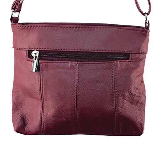 Travel Dkburgundy Body Silver Handbag Leather Cross Fever qPp0BUS