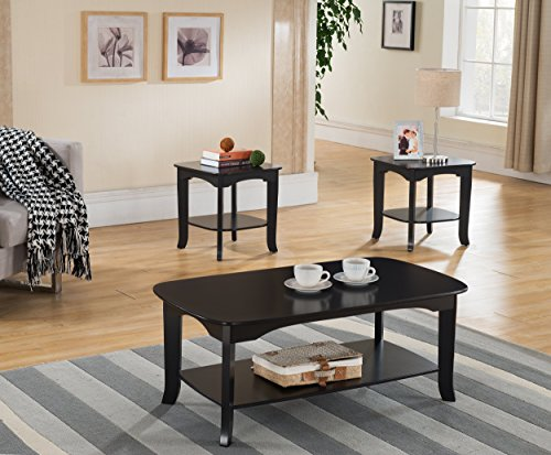 3-Piece Kings Brand Espresso Finish Occasional Coffee Table with 2 End Tables 3 Piece Living Room Coffee Table