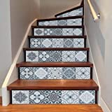 Wall Stickers,Elaco DIY Steps Sticker Removable Stair Sticker Home Decor Ceramic Tiles Patterns (F)