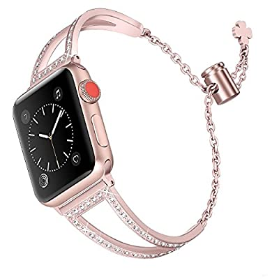 Secbolt Bling Bands Compatible with Apple Watch Band 38mm 40mm iWatch Series 5/4/3/2/1, Women Dressy Metal Jewelry Bracelet Bangle Wristband Stainless Steel
