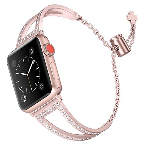 Secbolt Bling Bands Compatible Apple Watch Band 38mm 40mm Iwatch Series 4/3/2/1, Women Stainless Steel Metal Jewelry Bracelet Bangle Wristband, Rose Gold