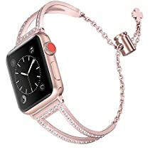 Secbolt Bling Bands Compatible Apple Watch Band 38mm Iwatch Series 3 2 1, Women Stainless Steel Metal Jewelry Bracelet Bangle Wristband