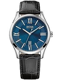 Hugo Boss Men's 42mm Black Leather Band Steel Case Quartz Blue Dial Analog Watch 1513386