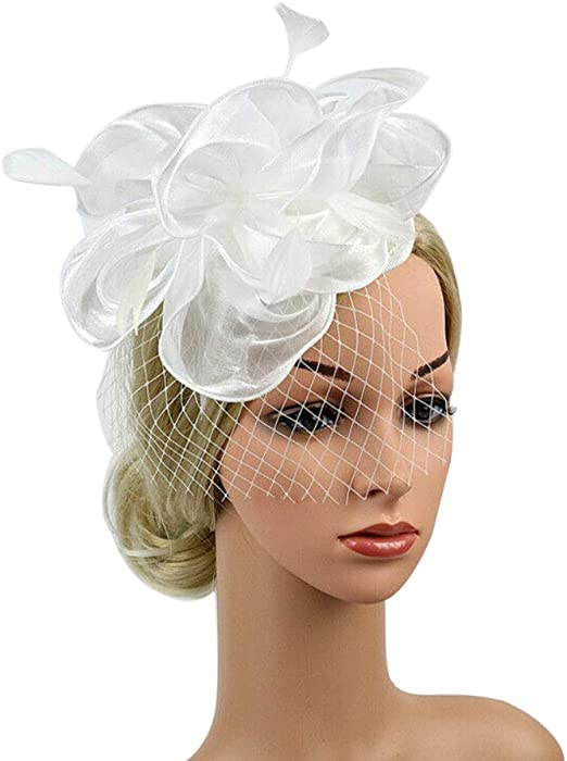 Handmade Large Women Feather Floral Hair Fascinator Hat Headband Accessories New