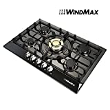 WindMax® Brand New 30' Black Titanium Plated Stainless Steel Golden Burner Built-In 5 Stoves NG Natural Gas Cooktops Cook Top Cooker