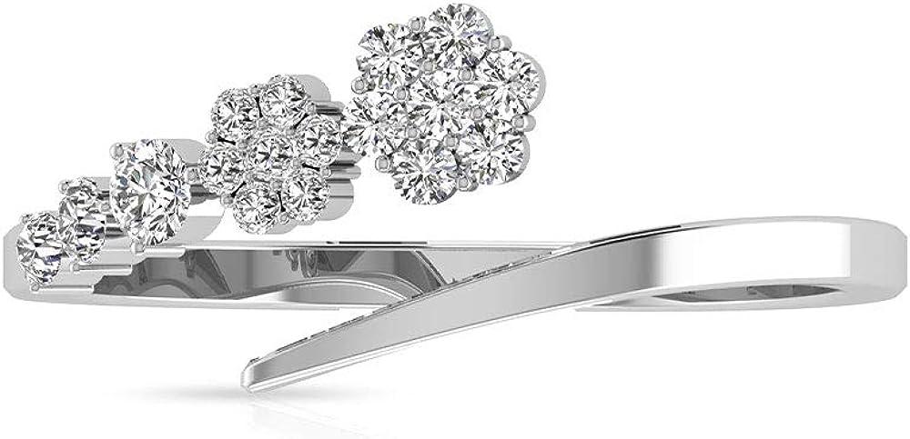Anillo de flor abierta de diamante certificado IGI de 0,27 quilates, anillo de boda de clúster de diamantes IJ-SI, anillo de compromiso mínimo de cumpleaños para ella, 18K Oro