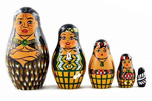 - Maori People Nesting Dolls Set 5 Pcs