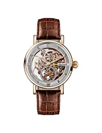 Ingersoll Men's Automatic Stainless Steel and Leather Casual Watch, Color:Brown (Model: I00401)
