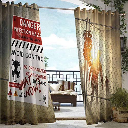 DILITECK Outdoor Grommet Top Curtain Panel Zombie Decor Dead Man Walking Dark Danger Scary Scene Fiction Halloween Infection Picture Waterproof Patio Door Panel W108 xL84 Multicolor -