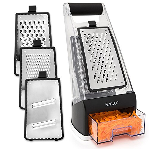 Fullstar Cheese Box Grater Shredder with Catch Food Container Base and 3 Interchangeable Stainless Steel Blades