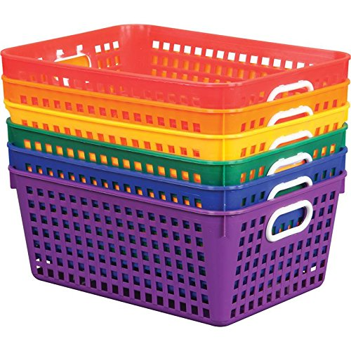 Really Good Stuff Multi Purpose Plastic Storage Baskets - Assorted Colors (Set of 6) (13