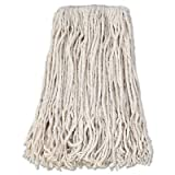Boardwalk Banded Cotton Mop Head, 24, White, 12/Carton