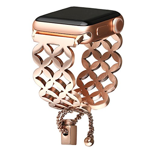 (For Apple Watch Band 38mm Women Girls, TRUMiRR Jewelry Bangle Watchband Bling Hollow Stainless Steel Strap Feminine Cuff Bracelet for iWatch Apple Watch Series 3 2 1 All Models, Rose Gold)