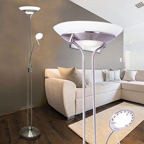 Stehlampe mit 2 Lampen Stand Leuchte LED-Stehleuchte Stand Design Lampe Fluter