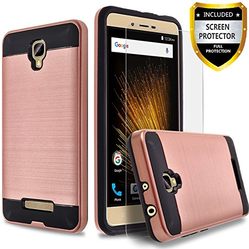 BLU Studio XL 2 Case, Circlemalls 2-Piece Style Hybrid Shockproof Hard Case Cover With [Premium Screen Protector] And Touch Screen Pen (Rose Gold)