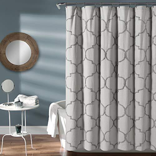 MISC Light Grey Blush Chenille Shower Curtain Texture Embellishments Tufted Trellis Pattern Cotton Fabric Bathtub Curtain Feminine Farmhouse Washroom Accessory, 72x72