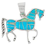 Horse Pendant 925 Sterling Silver Genuine Turquoise & Gemstones