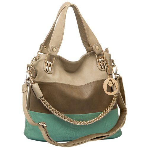 MG Collection Ece Tri-Tone Hobo Handbag, Turquoise Blue, One Size