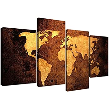 Amazon large vintage world map canvas wall art pictures in large vintage world map canvas wall art pictures in golden brown cream and beige modern gumiabroncs Images