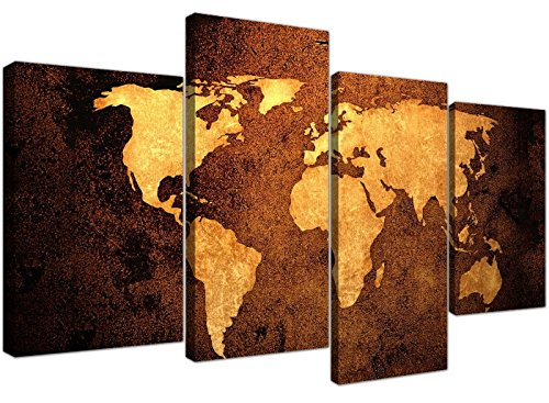 Large Vintage World Map Canvas Wall Art Pictures in Golden Brown Cream and Beige - Modern Split Set of 4 Prints - Multi Panel - XL - 130cm Wide Bedroom Wide Poster Bed