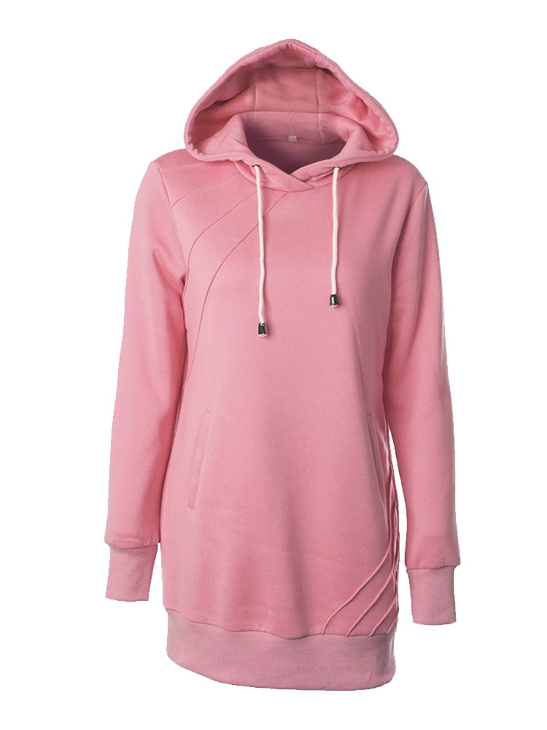 Women's Mid-Long Slim Fit Pullover Tunic Sweater Hoodie