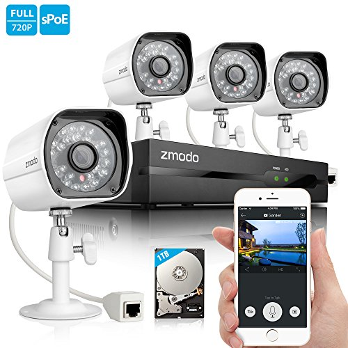 Best Deals! Zmodo 720P HD Home Security Camera System 4 x 720P Outdoor Night Vision Surveillance Cam...