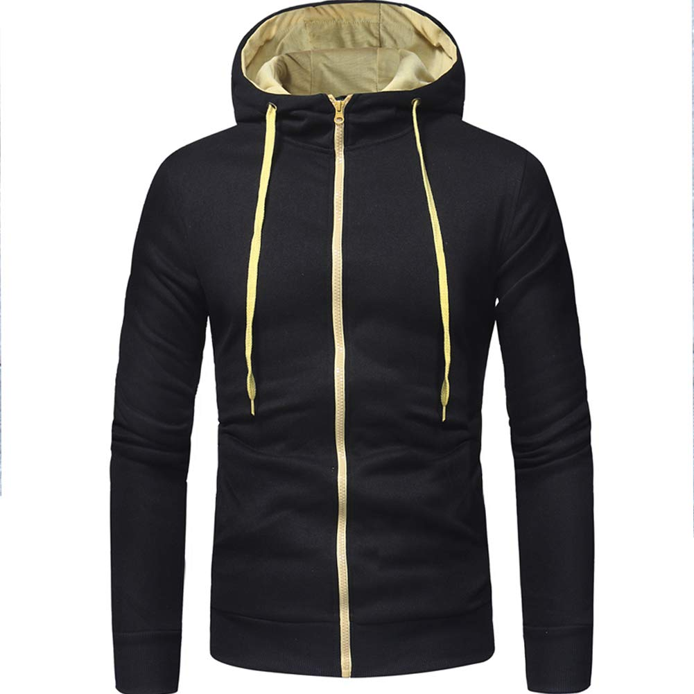 Accreate Men Classic Zipper Closure Hooded Casual Slim Coat