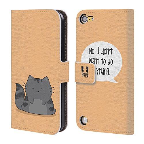 Head Case Designs Pigrizia Wilbur Il Gatto Cover a portafoglio in pelle per iPod Touch 5th Gen / 6th Gen