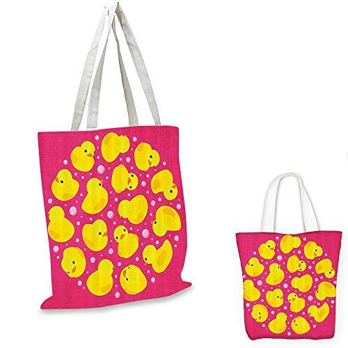(Rubber Duck portable shopping bag Fun Baby Duckies Circle Artsy Pattern Kids Bath Toys Bubbles Hot Pink Animal Print shopping bag for women Pink Yellow. 12