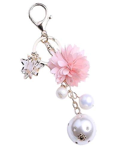 Elegante colgante flor creativa llavero clave de la cadena ...