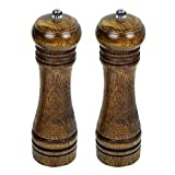 Agile-Shop Natural Wood Kitchen Manual Pepper Mill Salt Grinder Set of 2 (8 inch)