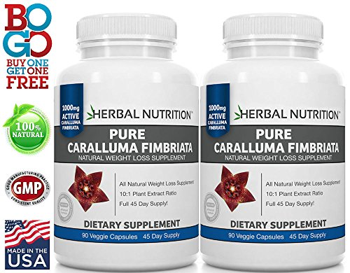 #1 Rated Caralluma Fimbriata for Weight Loss, 2 Bottle Pack, 90 Capsules Per Bottle, 3 Month Supply, 10:1 Extract Ratio, 1000mg Per Serving, MFD USA, Free Shipping (Best Fat Burner In India)