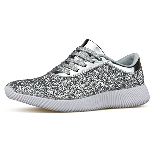 Casual Street Fashion Shoes (Womens Wedge Platform Fashion Sneaker Glitter Metallic Lace up Sparkle Slip On Street Casual Running Shoes Silver 8.5)