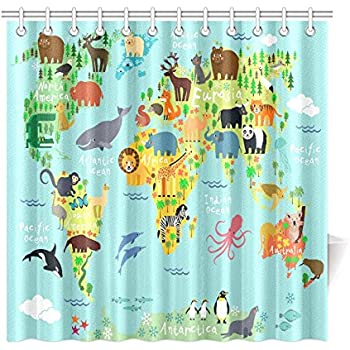 Exceptionnel InterestPrint Children Kids Shower Curtain Decor, Animal Map Of The World  For Children And Kids Cartoon Ocean Mountains Forests Fabric Bathroom Set  With ...