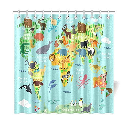 InterestPrint Children Kids Shower Curtain Decor, Animal Map of the World for Children and Kids Cartoon Ocean Mountains Forests Fabric Bathroom Set with Hooks, 72 X 72 Inches, Green Yellow Blue