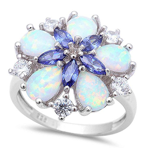 (Oxford Diamond Co Gorgeous 3 Stone Lab Created White Opal, Simulated Tanzanite & Cubic Zirconia Flower .925 Sterling Silver Ring Size 10)