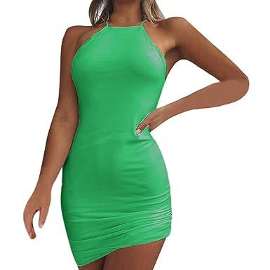 Proumy Vestidos de Cóctel Verde Verano Mujer Ropa de Playa ...
