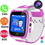 GBD 1.44'' Smart Watch Phone for Kids Boys Girls Birthday Gifts with Games SIM Card Slot Camera SOS Alarm Clock Wearable Wristbands Electronic Learning Toys Back to School Digital Sport Watch (Pink)