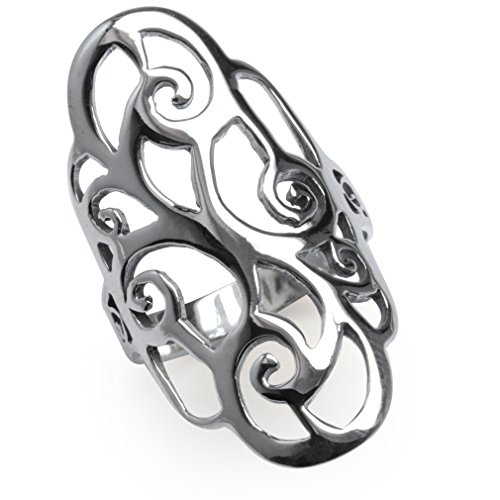 Wide Filigree Swirl Ring - 34MM 925 Sterling Silver Filigree Swirl & Spiral Ring Size 10.5