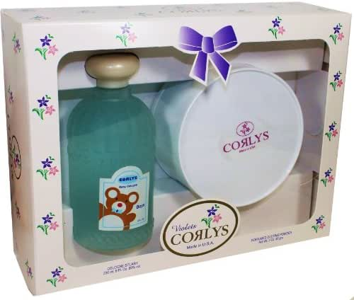 Corlys Violet Baby Cologne and Perfumed Dusting Powder for Boys.