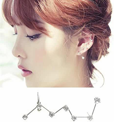 megko 7 Crystals Big Dipper Shape Stud Earrings Ear Cuffs Hoop Hypoallergenic 1 Piece of Ear Cartilage Earring for Left Ears