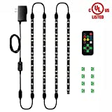 HitLights Eclipse LED Light Strip Accent Kit, 4 x Pre-Cut 12 Inch RGB Strips - Includes Remote, Power Supply, and Connectors for Under Cabinet Lights,Kitchen, TV Lights etc