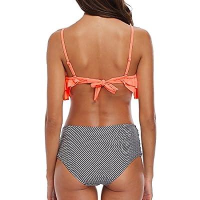 Holipick Women 2 Piece Off Shoulder Flounce Bikini High Waistd Swimsuit Pink M: Clothing