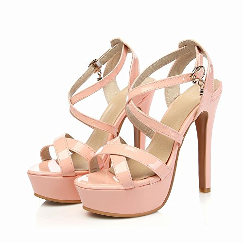 Mee Shoes Fashion PU Leather High-heel Stiletto Wrapped Platform Sandals Shoes Pink EeW7FfH