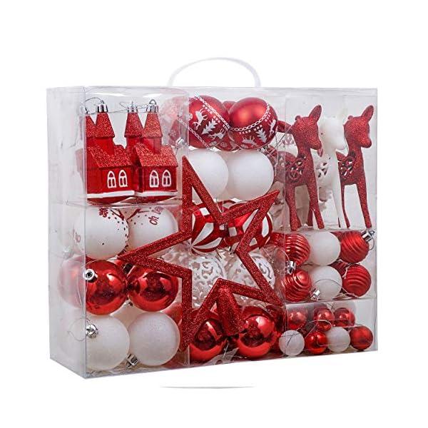 Victor's Workshop Addobbi Natalizi 100 Pezzi di Palline di Natale, Oh Cervo Rosso e Bianco Infrangibile Ornamenti di Palla di Natale Decorazione per la Decorazione Dell'Albero di Natale 1 spesavip