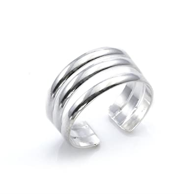 Silverly Women's .925 Sterling Silver Three Band Adjustable Polished Toe Ring qFGOse