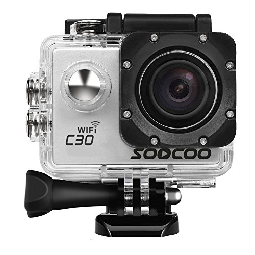 4K Action Camera, SOOCOO C30 Sports Camera 20MP 2.0 Inch Waterproof Diving Camera with 2 Batteries and 18 Accessories Kit Included - Silver + WiFi (Micro SD Card Not Included)