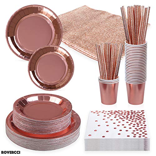 Best Review Of Rose Gold Party Supplies Dinnerware Set and Tableware- Disposable Plastic Dinner Set ...