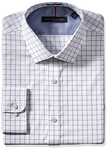 Tommy-Hilfiger-Mens-Non-Iron-Slim-Fit-Check-Spread-Collar-Dress-Shirt